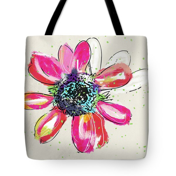 Tote Bag featuring the mixed media Colorful Daisy- Art By Linda Woods by Linda Woods