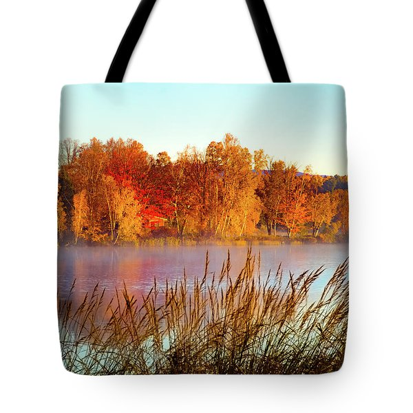 Colorful Dawn On Haley Pond Tote Bag