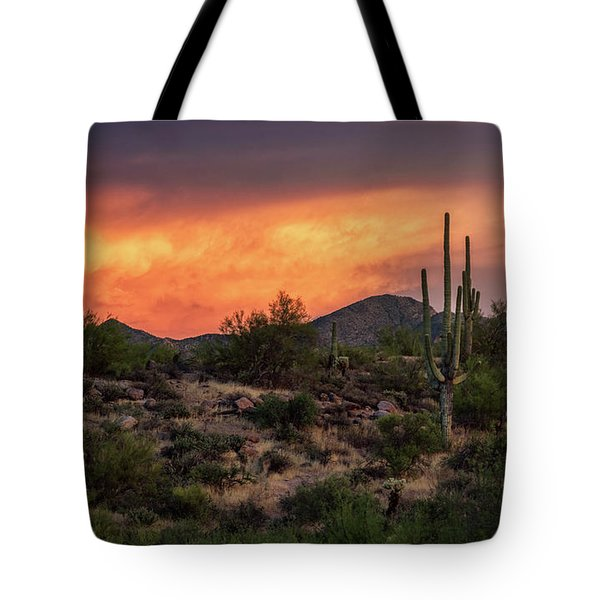 Tote Bag featuring the photograph Colorful Desert Skies At Sunset  by Saija Lehtonen