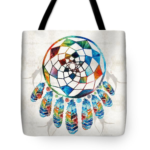 Colorful Dream Catcher By Sharon Cummings Tote Bag