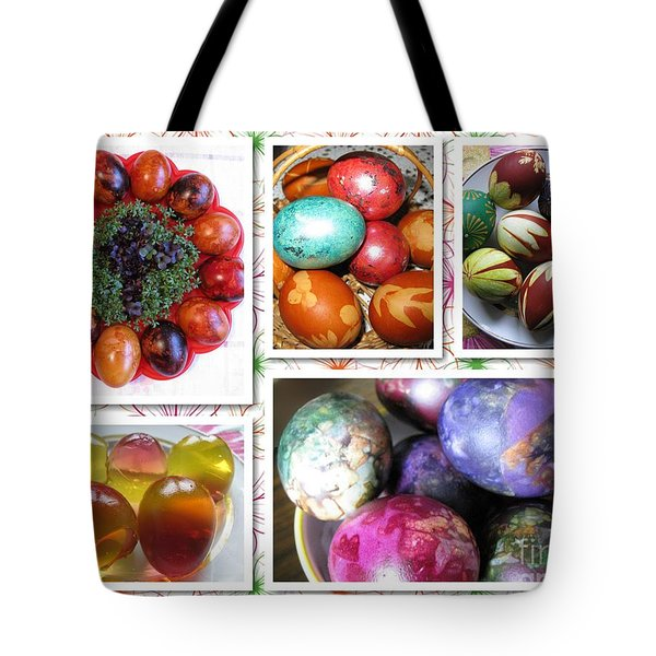 Tote Bag featuring the photograph Colorful Easter Eggs Collage 07 by Ausra Huntington nee Paulauskaite