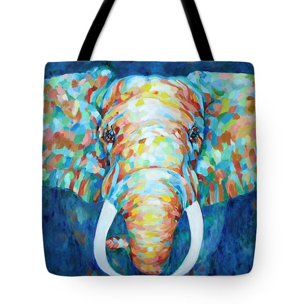 Colorful Elephant Tote Bag by Enzie Shahmiri