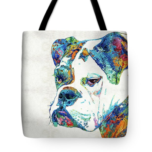Tote Bag featuring the painting Colorful English Bulldog Art By Sharon Cummings by Sharon Cummings