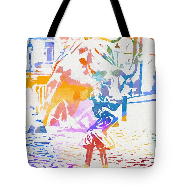 Tote Bag featuring the painting Colorful Fearless Girl by Dan Sproul