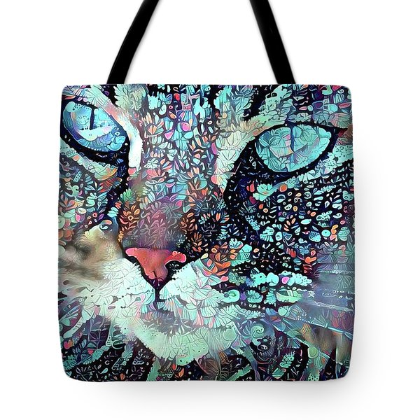 Colorful Flower Cat Art - A Cat Called Blue Tote Bag