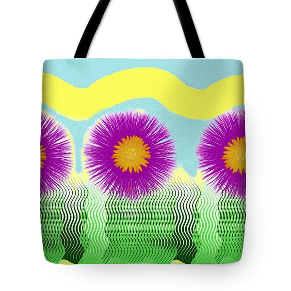 Tote Bag featuring the digital art Colorful Flower Pop Art by Shelli Fitzpatrick