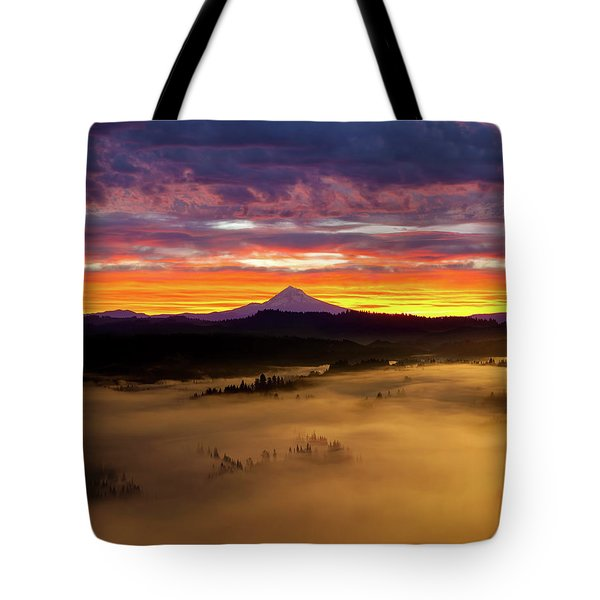 Colorful Foggy Sunrise Over Sandy River Valley Tote Bag