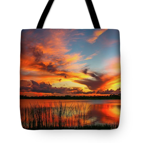 Tote Bag featuring the photograph Colorful Fort Pierce Sunset by Tom Claud