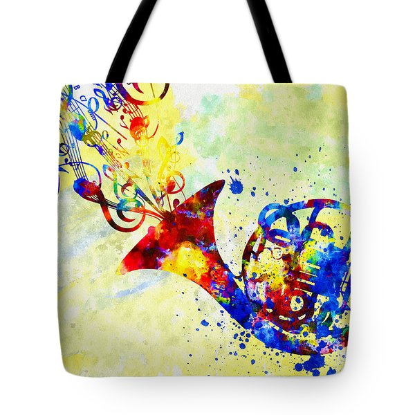Colorful French Horn Tote Bag