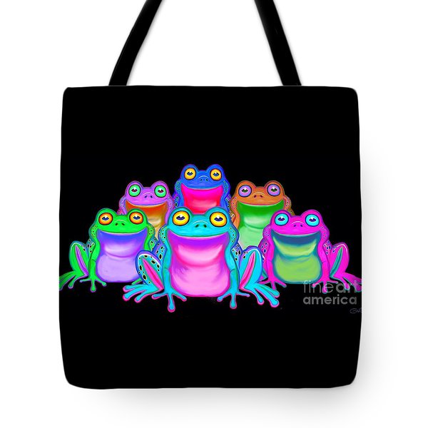 Tote Bag featuring the painting Colorful Froggies by Nick Gustafson