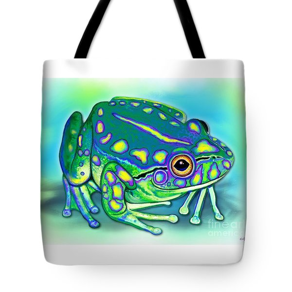Tote Bag featuring the painting Colorful Froggy by Nick Gustafson