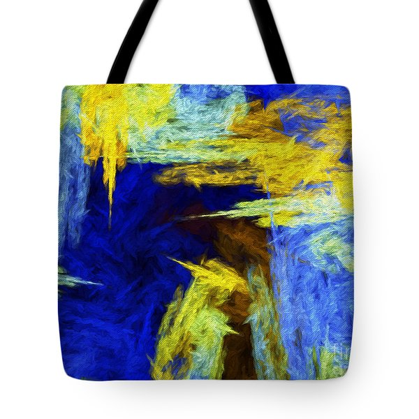 Tote Bag featuring the digital art Colorful Frost Abstract by Andee Design