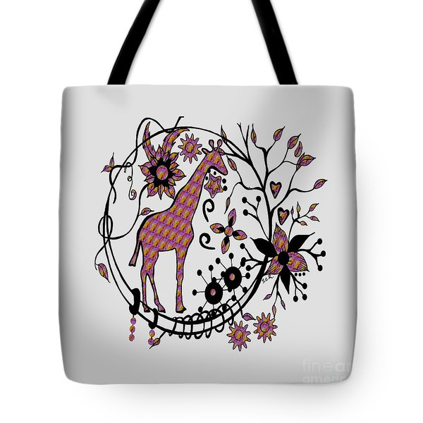 Tote Bag featuring the drawing Colorful Giraffe Illustration by Saribelle Rodriguez