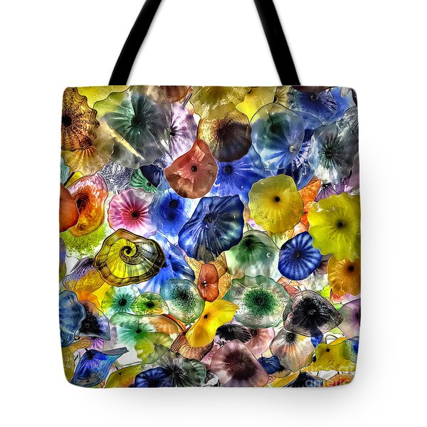 Colorful Glass Ceiling In Bellagio Lobby Tote Bag by Walt Foegelle