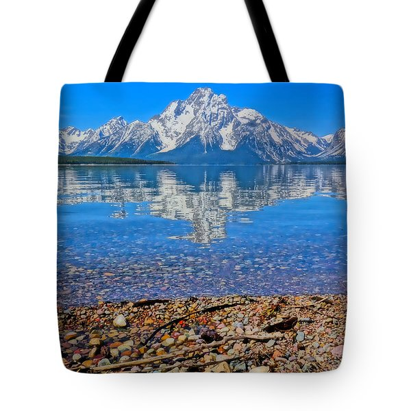 Colorful Grand Teton Reflection From Dollar Island Tote Bag