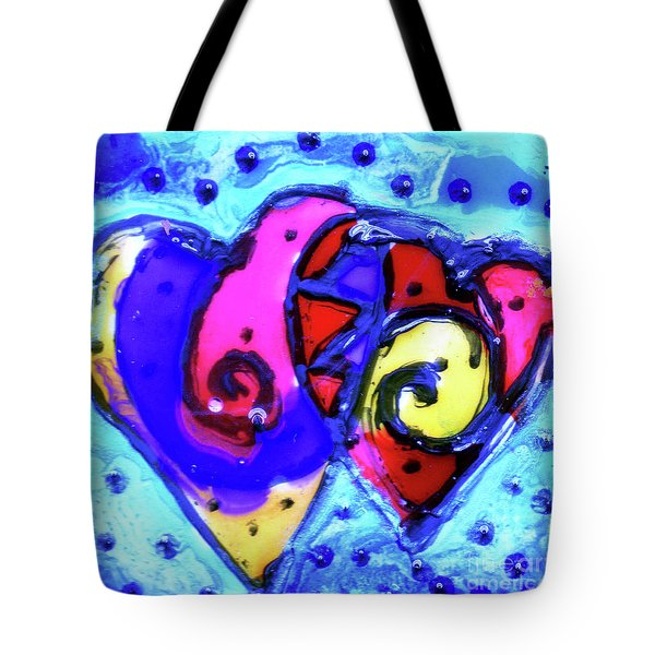 Tote Bag featuring the painting Colorful Hearts Equals Crazy Hearts by Genevieve Esson