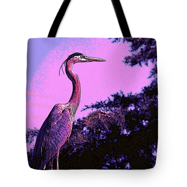 Colorful Heron Tote Bag