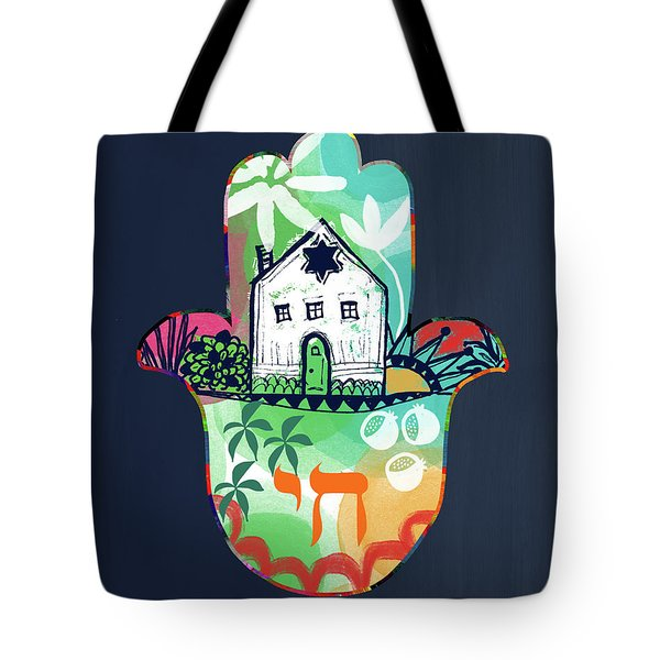Tote Bag featuring the mixed media Colorful Home Hamsa- Art By Linda Woods by Linda Woods