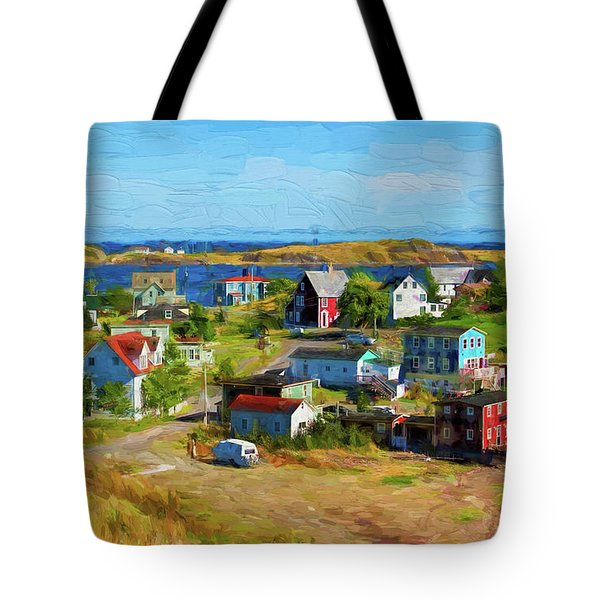 Colorful Homes In Trinity, Newfoundland - Painterly Tote Bag