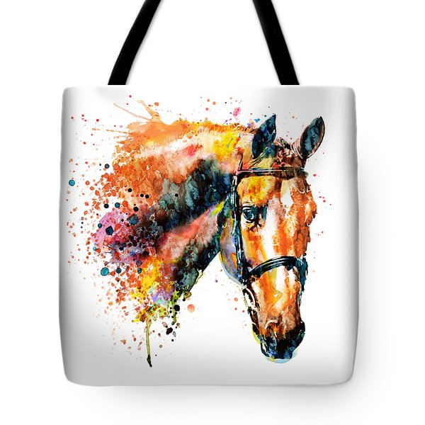 Tote Bag featuring the mixed media Colorful Horse Head by Marian Voicu