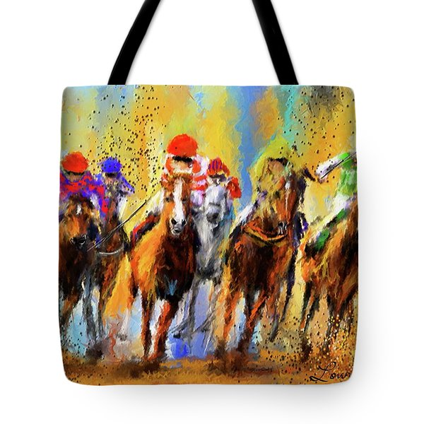 Colorful Horse Racing Impressionist Paintings Tote Bag