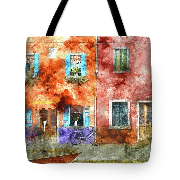 Colorful Houses In Burano Island, Venice Tote Bag