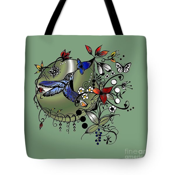 Colorful Hummingbird Ink And Pencil Drawing Tote Bag by Saribelle Rodriguez