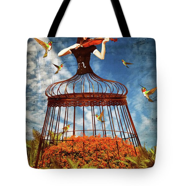 Colorful Hummingbird Song Tote Bag by Mihaela Pater