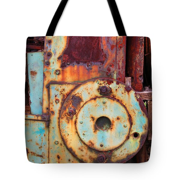 Tote Bag featuring the photograph Colorful Industrial Plates by Art Block Collections