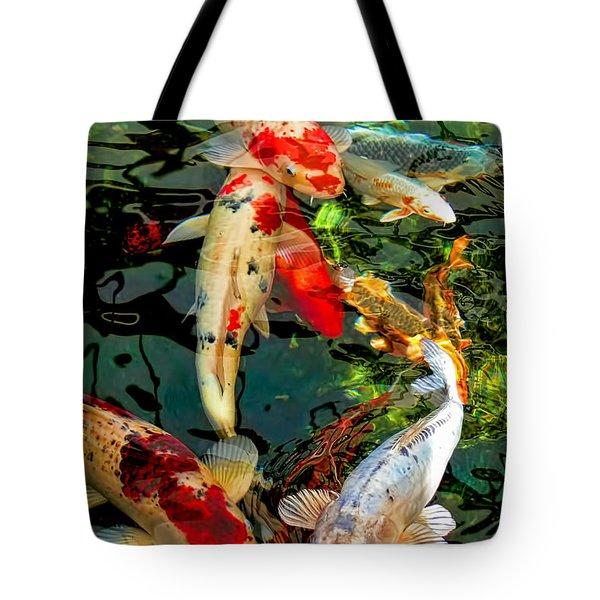Colorful  Japanese Koi Fish Tote Bag