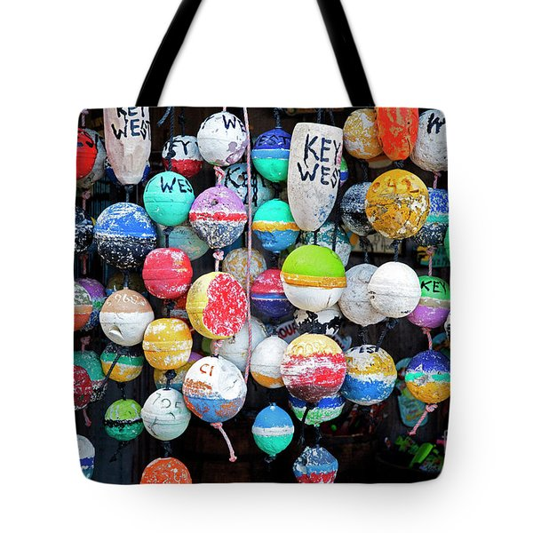 Colorful Key West Lobster Floats Tote Bag