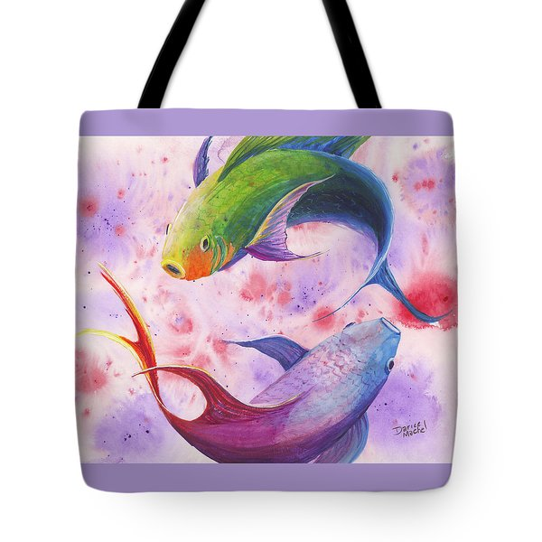 Tote Bag featuring the painting Colorful Koi by Darice Machel McGuire