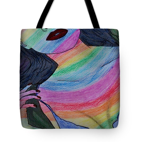 Colorful Lady Tote Bag by Lucy Frost