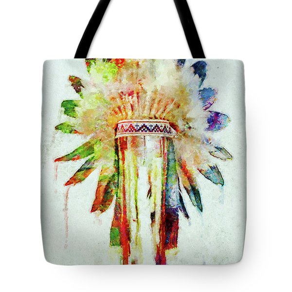 Colorful Lakota Sioux Headdress Tote Bag