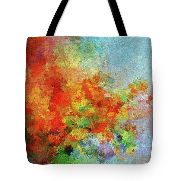 Tote Bag featuring the painting Colorful Landscape Art In Abstract Style by Ayse Deniz