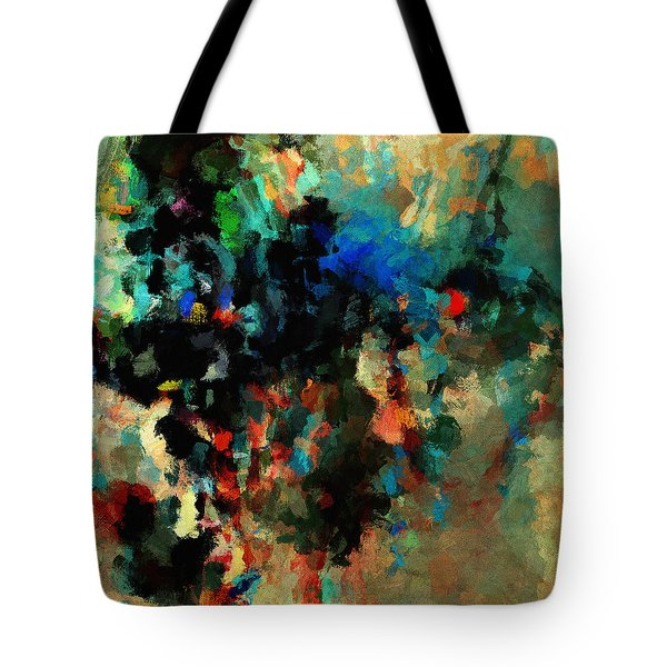 Tote Bag featuring the painting Colorful Landscape / Cityscape Abstract Painting by Ayse Deniz