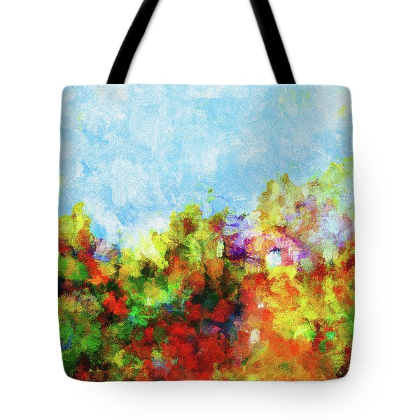 Tote Bag featuring the painting Colorful Landscape Painting In Abstract Style by Ayse Deniz