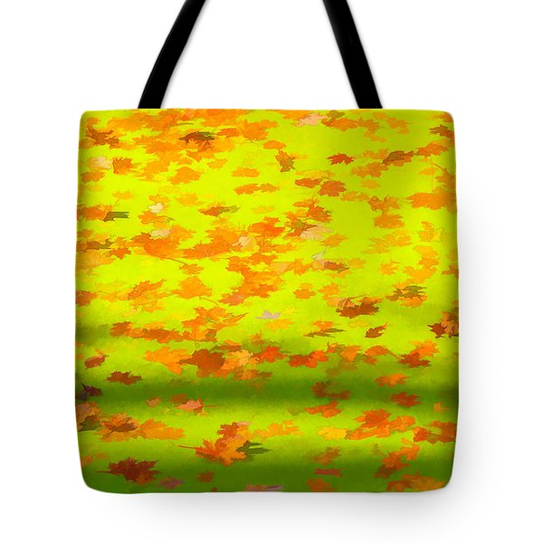 Tote Bag featuring the painting Colorful Leaves On Canal by David Letts
