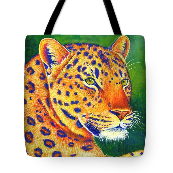Colorful Leopard Portrait Tote Bag