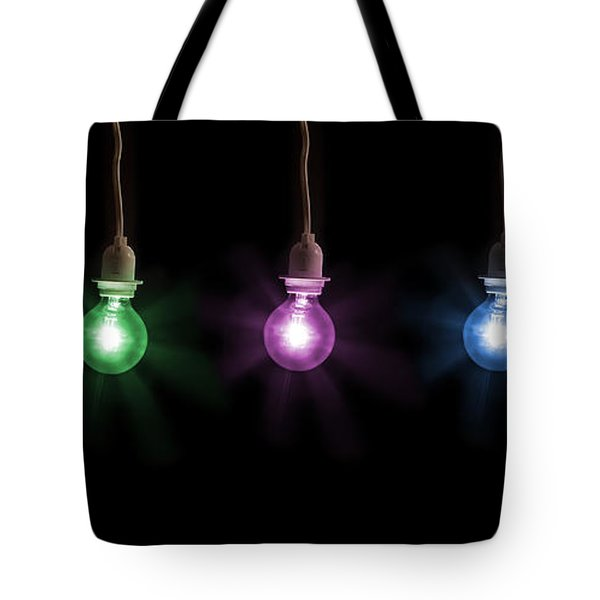 Colorful Light Bulbs Tote Bag by Sharon Dominick