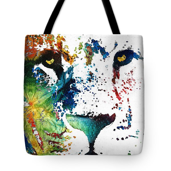 Colorful Lion Art By Sharon Cummings Tote Bag by Sharon Cummings