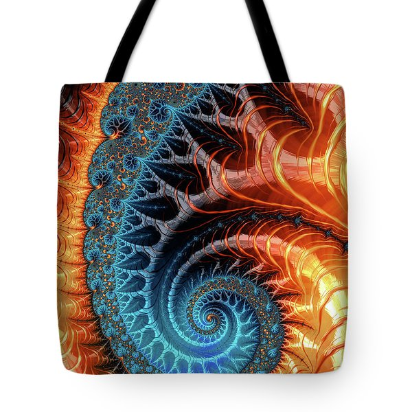 Colorful Luxe Fractal Spiral Turquoise Brown Orange Tote Bag