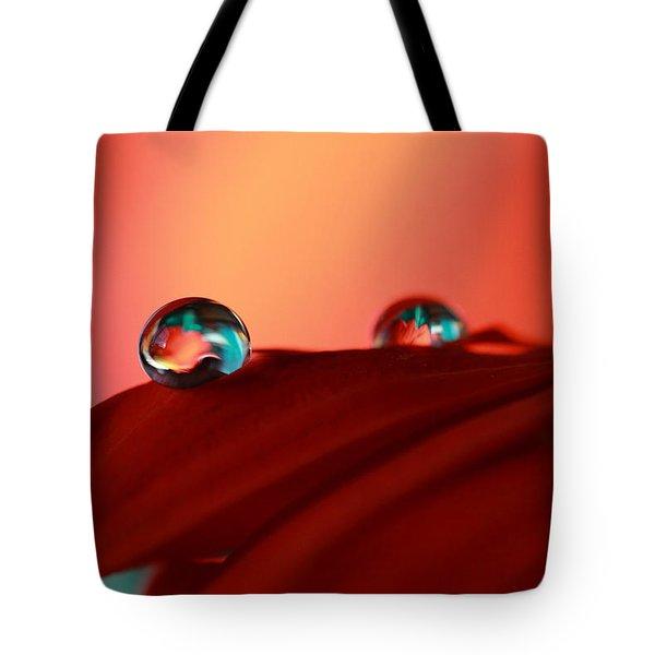 Colorful Macro Water Drops Tote Bag