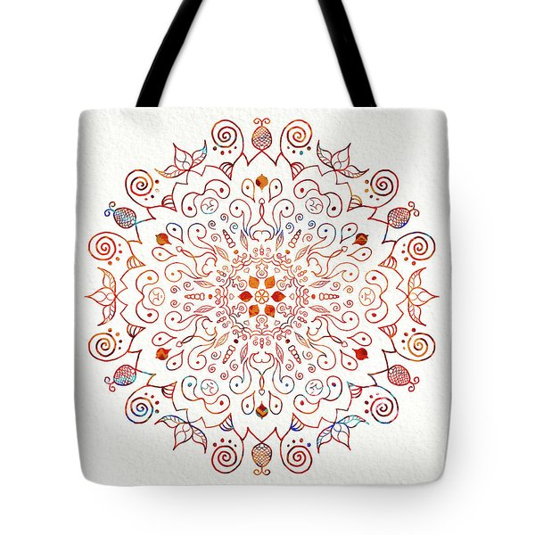Colorful Mandala On Watercolor Paper Tote Bag by Patricia Lintner