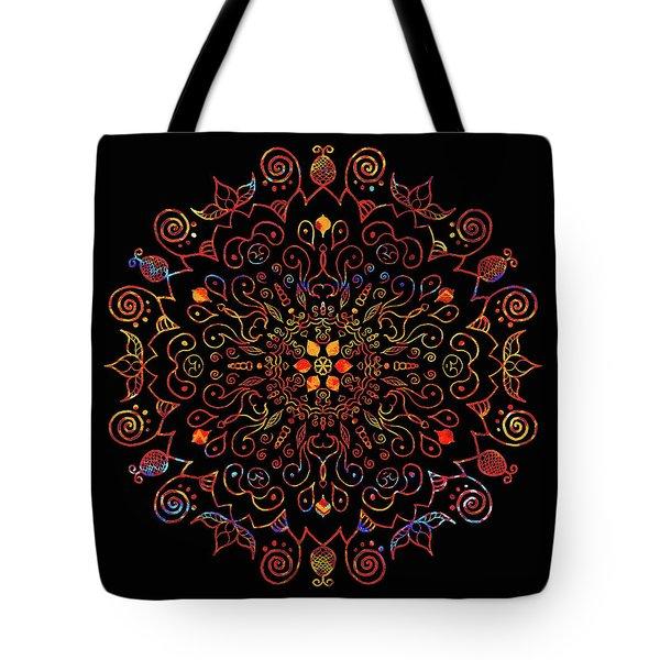 Colorful Mandala With Black Tote Bag
