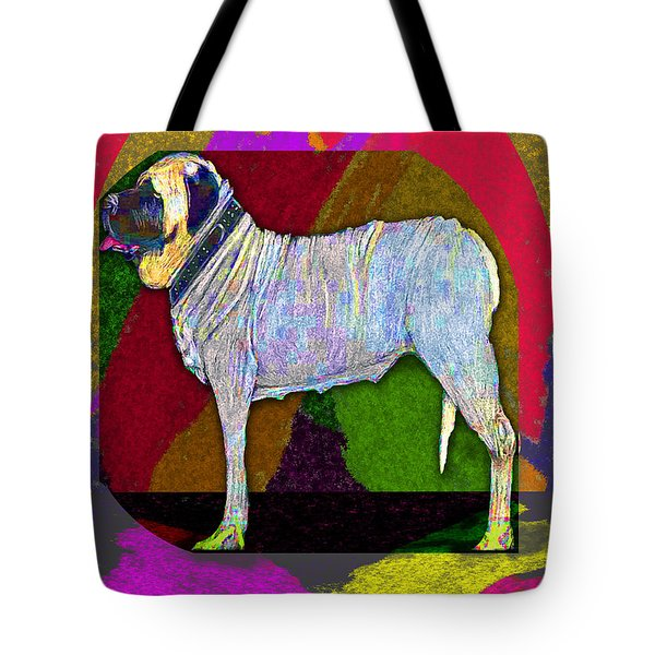 Tote Bag featuring the drawing Colorful Mastiff by Michelle Audas