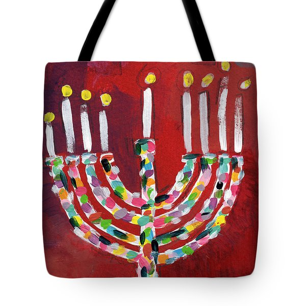 Colorful Menorah- Art By Linda Woods Tote Bag