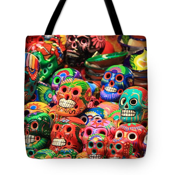 Colorful Mexican Day Of The Dean Ceramic Skulls Tote Bag by Roupen  Baker