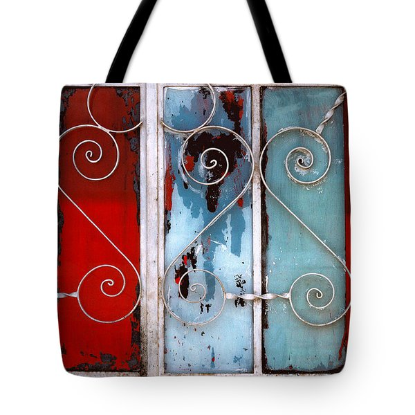 colorful Mexico abstract photography - Red White and Blue Door Tote Bag