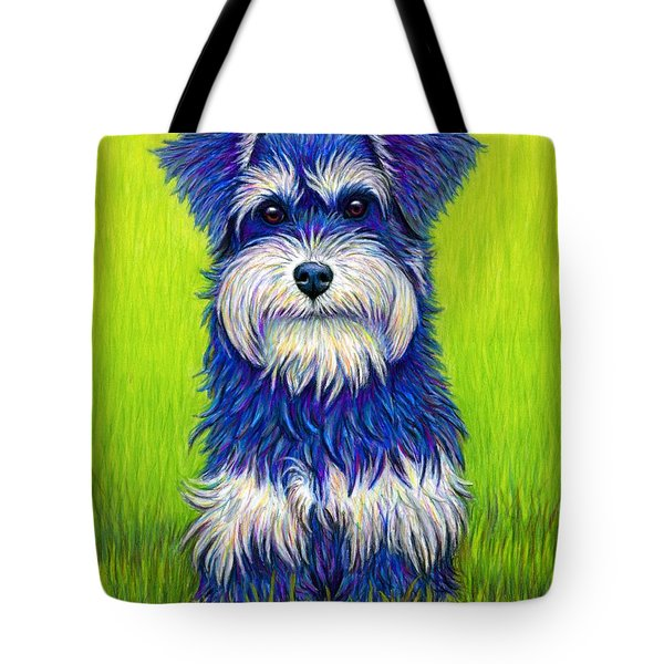 Colorful Miniature Schnauzer Dog Tote Bag